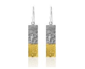 Sterling Silver Mother & Child Footprints Drop Earrings