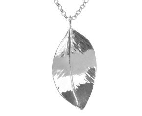 Sterling Silver Large Wild Apple Leaf Pendant