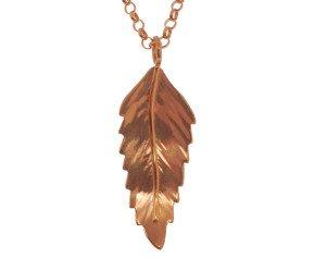 Sterling Silver & Rose Gold Vermeil Rowan Leaf Pendant