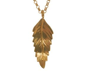 Sterling Silver & Yellow Gold Vermeil Rowan Leaf Pendant