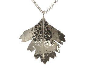 Sterling Silver Hawthorn Large Leaf Pendant