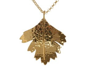 Sterling Silver & Yellow Gold Vermeil Hawthorn Large Leaf Pendant