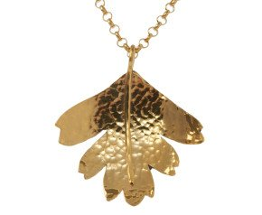 Sterling Silver & Yellow Gold Vermeil Hawthorn Small Leaf Pendant