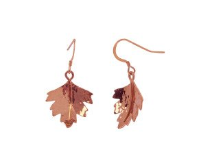 Sterling Silver & Rose Gold Vermeil Hawthorn Leaf Earrings