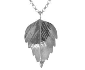 Sterling Silver Silver Birch Medium Leaf Pendant
