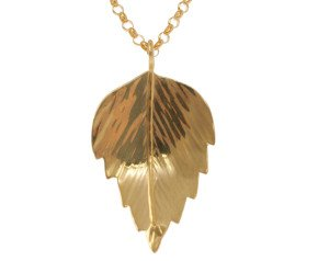 Sterling Silver & Yellow Gold Vermeil Silver Birch Medium Leaf Pendant