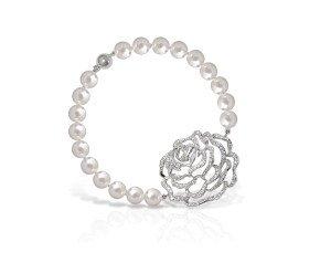 Sterling Silver Rose Pearl Bracelet