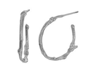 Sterling Silver Small Twig Hoop Earrrings