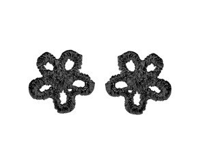 Black Rhodium Vermeil Lace Daisy Stud Earrings