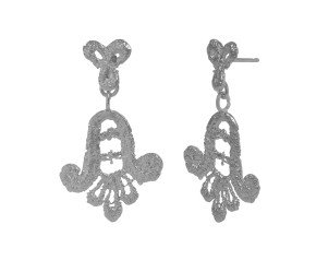 Sterling Silver Lace Double Drop Earrings