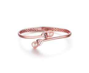 Sterling Silver 18ct Rose Gold Vermeil Stone Set Snowdrop Bangle