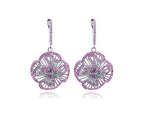 Sterling Silver & Pink Stone Cascade Stud Drop Earrings