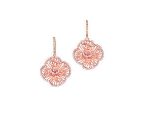 Sterling Silver & 18ct Rose Gold Vermeil Cascade Stud Drop Earrings