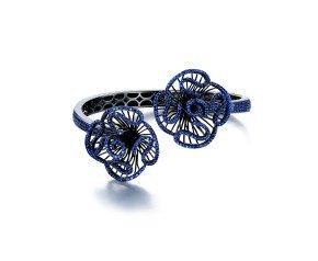 Sterling Silver Black Rhodium Vermeil & Blue stone Cascade Bangle