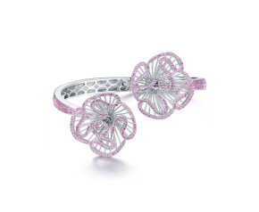 Sterling Silver & Pink Stone Cascade Bangle