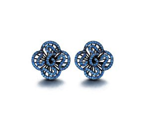 Sterling Silver Black Rhodium Vermeil & Blue stone Mini Cascade Stud Earrings