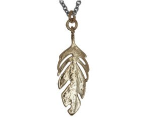 Sterling Silver & 18ct Yellow Gold Vermeil Feather Necklace