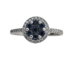 18ct White Gold 0.40ct Sapphire & Diamond Cluster Ring