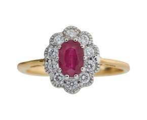 18ct Gold 0.60ct Ruby & Diamond Cluster Ring