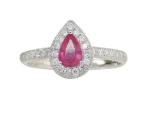18ct White Gold 0.60ct Ruby & Diamond Halo Ring