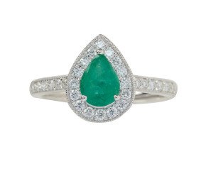 18ct White Gold 0.73ct Emerald & Diamond Halo Ring