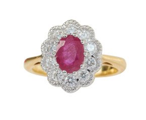 18ct Gold 0.90ct Ruby & Diamond Cluster Ring