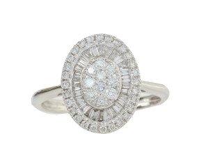 18ct White Gold 0.77ct Diamond Cluster Ring
