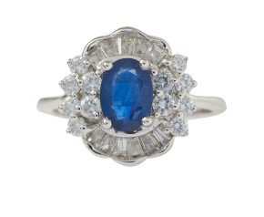 18ct White Gold 0.50ct Sapphire & Diamond Cluster Ring