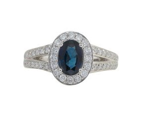 18ct White Gold 0.92ct Sapphire & Diamond Halo Ring