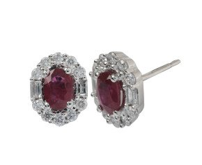 18ct White Gold 1.10ct Ruby & Diamond Earrings