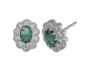 18ct White Gold 0.60ct Emerald & Diamond Earrings