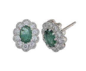 18ct White Gold 0.60ct Emerald & Diamond Earrings
