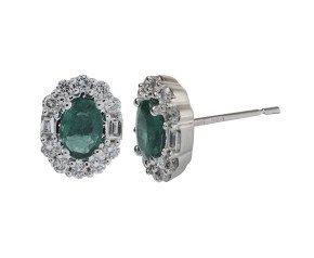 18ct White Gold 0.65ct Emerald & Diamond Earrings