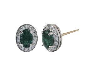18ct White Gold 0.86ct Emerald & Diamond Earrings