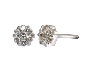 18ct White Gold 0.25ct Diamond Cluster Earrings