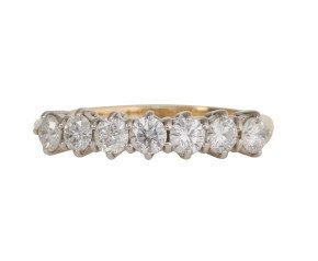 18ct Gold 0.83ct Diamond Seven Stone Ring