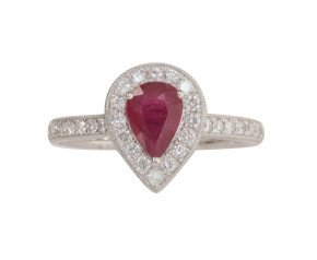18ct White Gold 0.70ct Ruby & Diamond Halo Ring