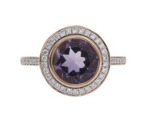 18ct Rose Gold 1.87ct Amethyst & Diamond Halo Ring