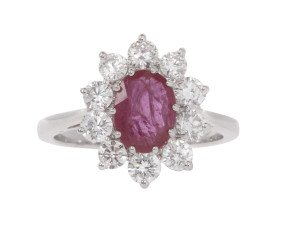 18ct White Gold 1.08ct Ruby & 1.00ct Diamond Cluster Ring