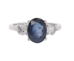 18ct White Gold 2.44ct Sapphire & 0.55ct Diamond Trilogy Ring