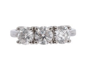 Platinum 2.20ct Diamond Trilogy Ring