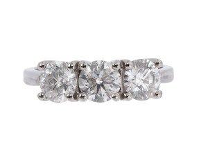 Platinum 2.20ct Diamond Trilogy Ring