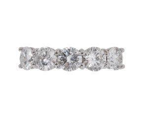Platinum 2.37ct Diamond Five Stone Ring