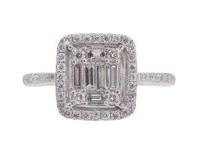 18ct White Gold 0.70ct Diamond Cluster Dress Ring