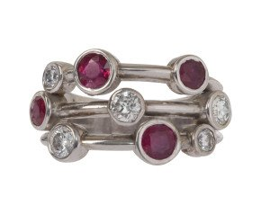 1.00ct Ruby & 0.65ct Diamond Dress Ring