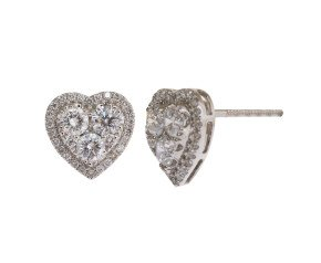18ct White Gold 1.99ct Diamond Heart Cluster Earrings