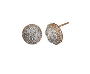 18ct Gold 1.40ct Diamond Cluster Earrings