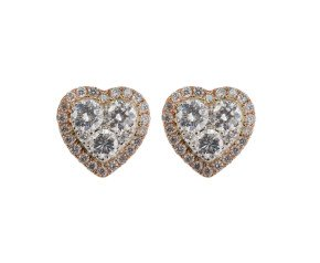 18ct White & Rose Gold 0.85ct Diamond Heart Cluster Earrings