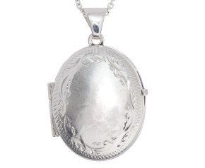Sterling Silver Fancy Border Oval Locket