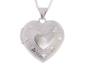 Sterling Silver Heart Border Love Locket